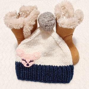 Toddler's Knitted Winter Pom Hat
